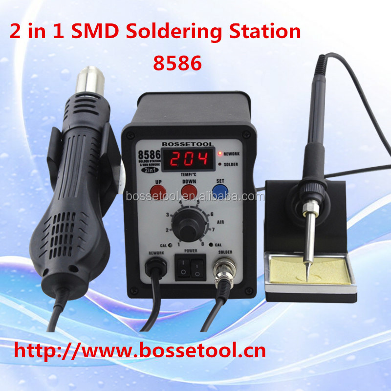 Hot Sale 8586 Lead-free 2 in 1 Soldering Station with Hot Air Blower and Iron Handle