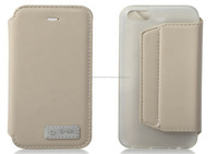 Genuine leather case in white design with stand for iPhone 6, iPhone 5 and iPhone 4 and for Samsung S5 and Note 3
