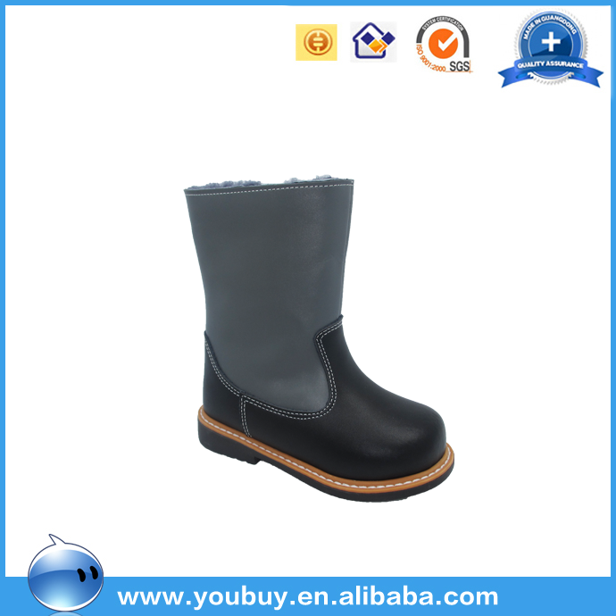 Genuine fur leather children canadian winter boots
