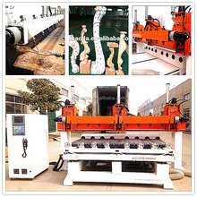 multi spindles wood copying lathe / table legs machine / 5 axis multi head wood cnc router