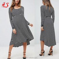 Wholesale Pregnancy Clothes Long Sleeved Striped Wrap Front Midi Maternity Dress Nursing Clothes