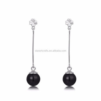 2017 new designs simple fashion 925 Sterling silver earring with white gold plating, 8mm black Agate earring for women