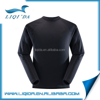 Spring lightweight o-neck blank black long sleeve t-shirt for men