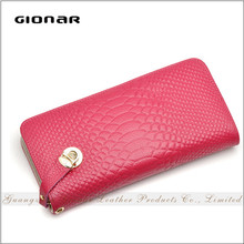 Customized Lock Genuine Leather Snake Pattern Minimalist Human leather the Wallet