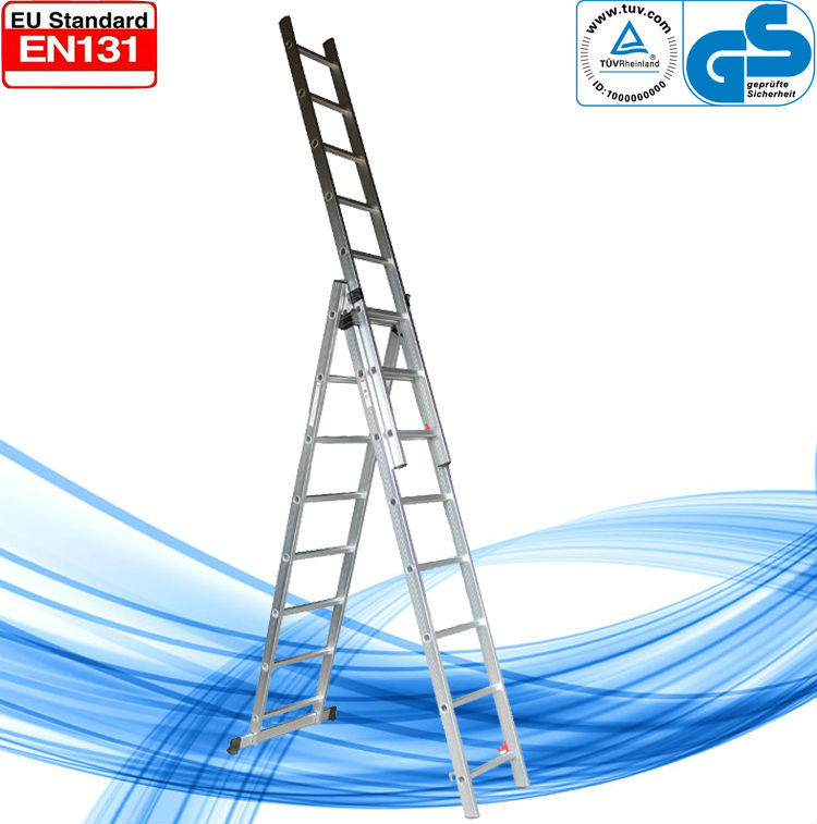 WK-E07 aluminum 3 section extension ladder/step extension ladder/three parts combination extension ladder