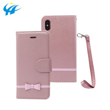 design your own leather Bowknot cell phone case cover for phone with card holder