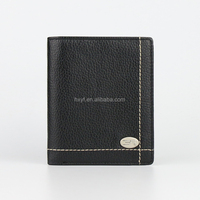100% Top Quality Durable Black Men Real Cowhide Leather Wallet