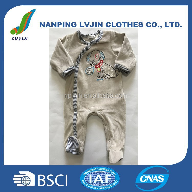 75% cotton 25% polyester velour baby boys footed romper