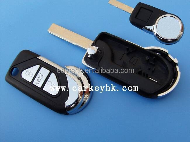 New Peugeot flip 3 buttons remote flip key blank Citroen ds3 shell with battery holder without groove blade
