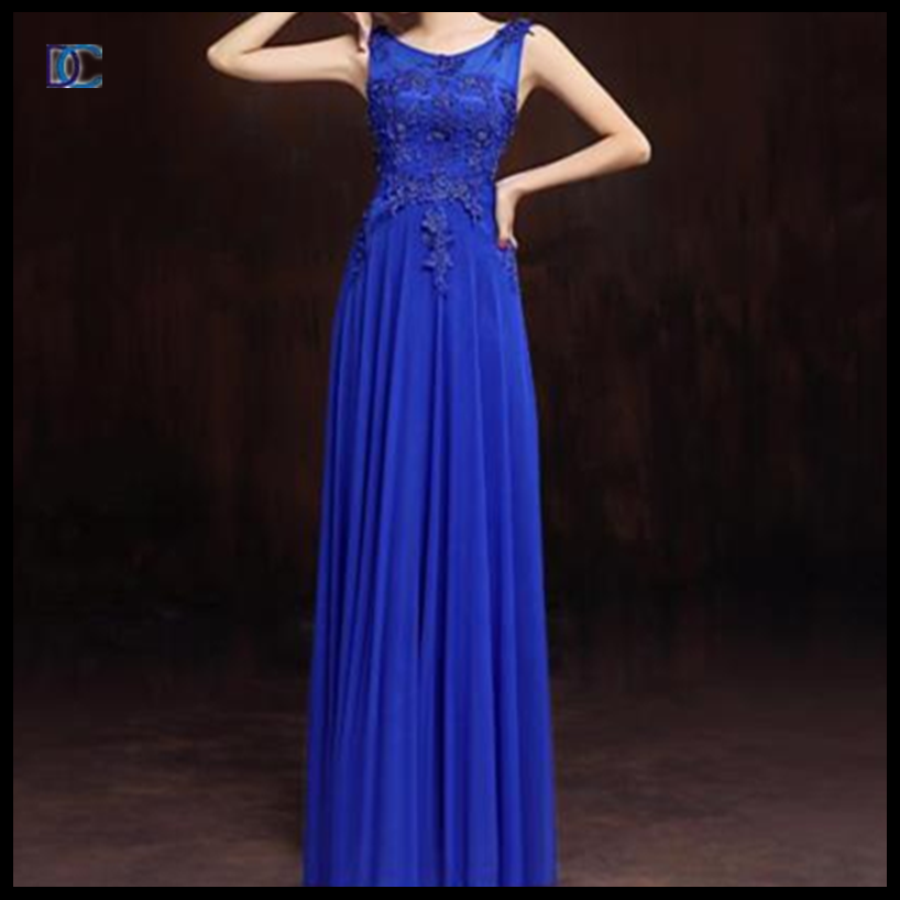 fashion party long chiffon blue summer frock designs