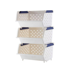 plastic foldable stack frame strong durable kitchen storage empty decorative fruit cabinet basket with handles and lid
