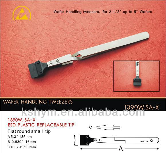 wafer tweezers with ESD plastic replaceable tips