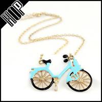 New style custom gold plated enamel blue bicycle pendant necklace fashion