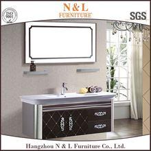 Stainless Steel Metal Cabinet Bathroom Vanity With Half Round Handle