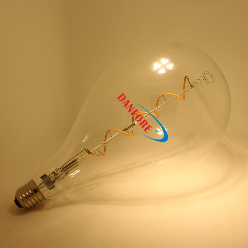 4w big bulb A165 Sprial led filament bulb for decoration
