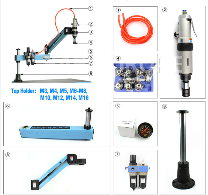 Flexible tapping Arm M3-M12 Air Pneumatic Tapping Machine