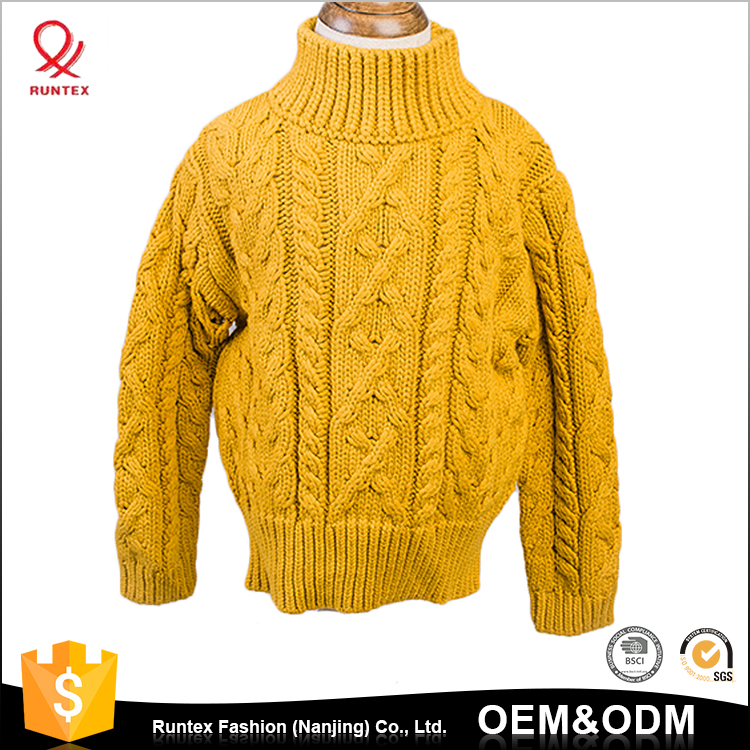 OEM service long sleeves cable-knit cute winter kintted kid sweater for girls