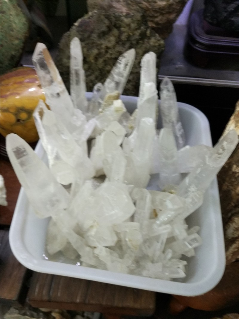 natural clear crystal cluster, pure white rock crystal clusters, long points cluster