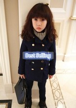 Children with wholesale korean style double-breasted winter style of woolen cloth coat coat manufacturer(M40017A)