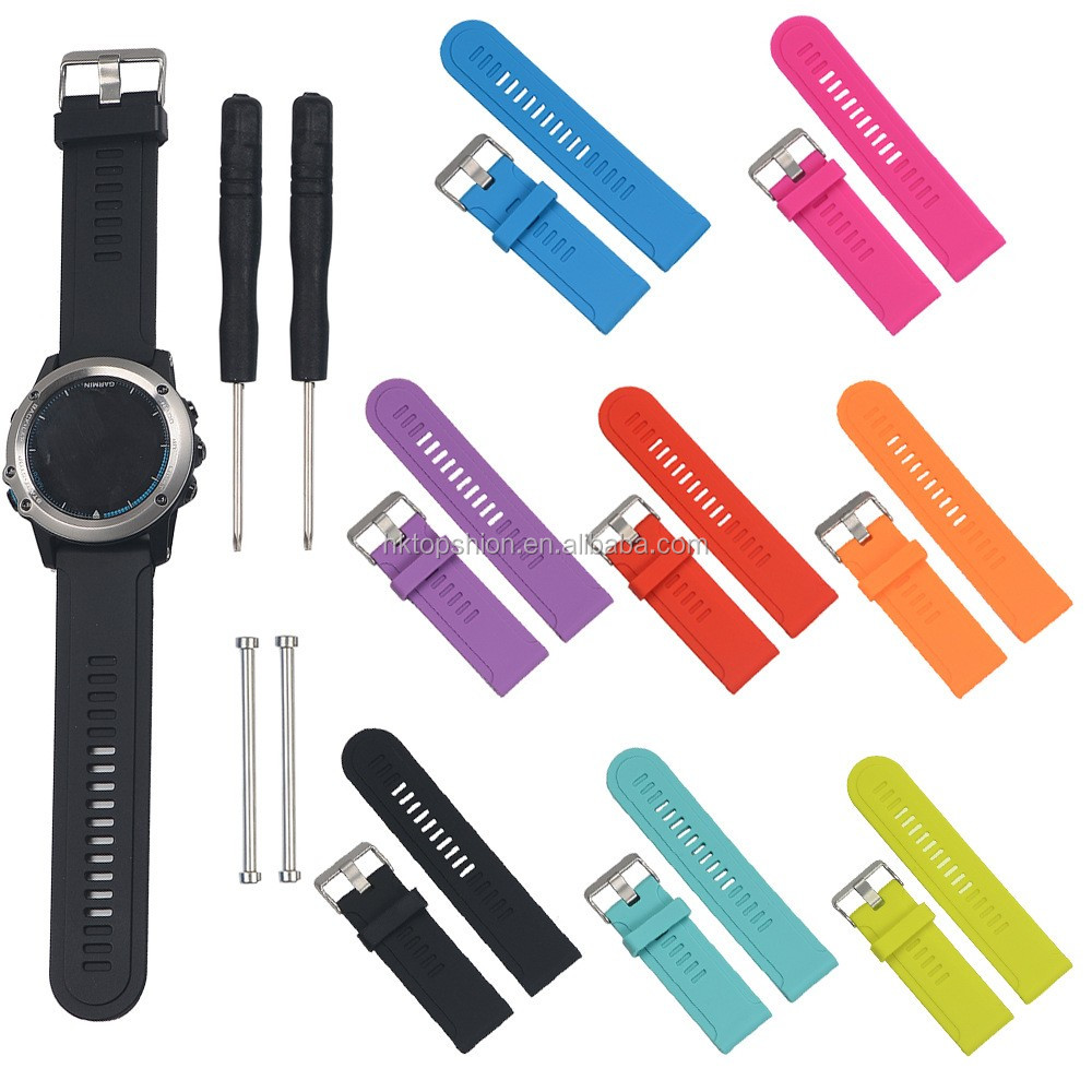 Wholesale Price for Garmin Fenix 3 Band Soft Rubber Silicone Watch Band With Bukkle