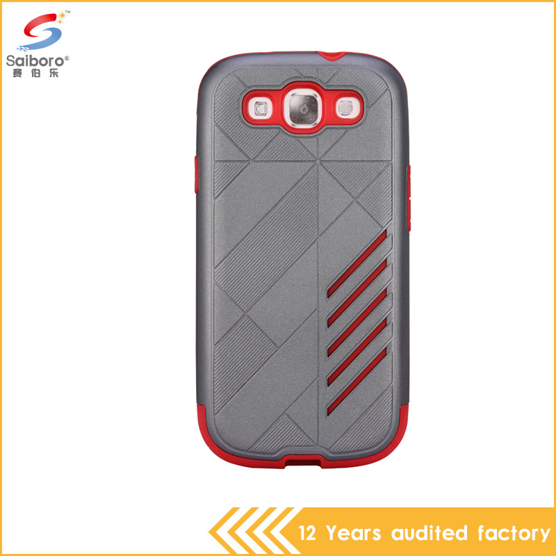 Newest gray and red color shockproof pc with tup 4.5 inch phone cover for samsung galaxy s3 case