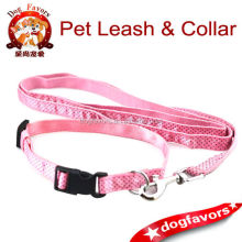 4 Ft Long Dog Dotted Lead Leash + Collar SET for Puppies S Black / Pink New