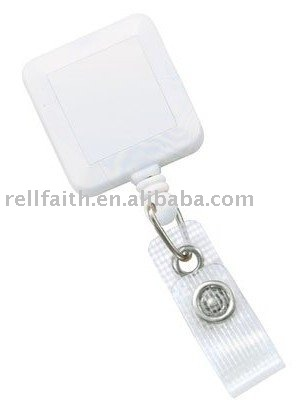 Square Badge Reel with Reinforced Vinyl Strap