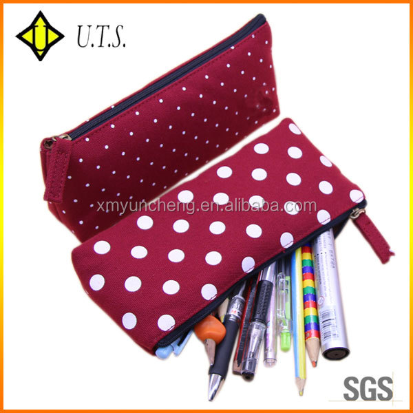zippered school pencil bags for pen red pencil pouch case