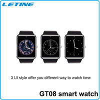 2015 Newest Bluetooth SIM card GT08 smart watch phone 1.54 TFT 32GB TF Card smartwatch for android mobile phone