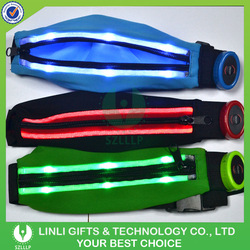 Sports direct led flashing cycling jogging waist bag running waist belt bag;Led Waist Pocket