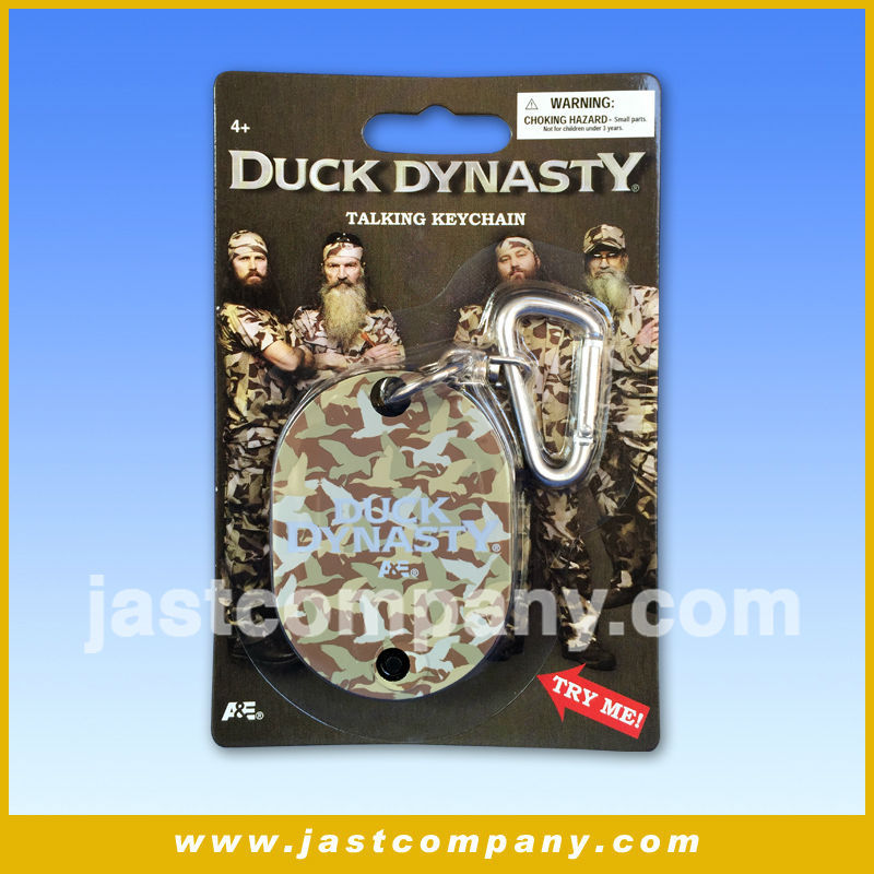 China custom led keychain with recordable sound talking plastic keychain, Duck Dynasty musical plastic keychain