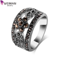 Best Selling Fashion Jewelry Silver Plated Black CZ Flower Vintage Ring