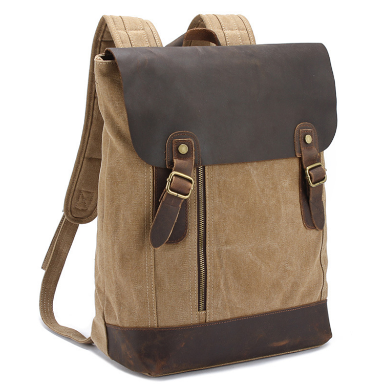 Wholesale vintage laptop high density 16oz cotton canvas backpack with genuine leather flap
