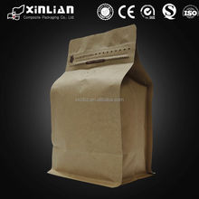 factory price square bottom kraft paper bag/stand up pouch aluminum foil coffee bag