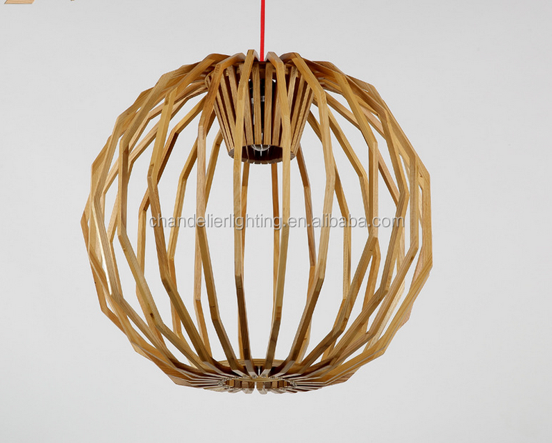 UL Nordic art decorative round wooden ball chandelier pendant light