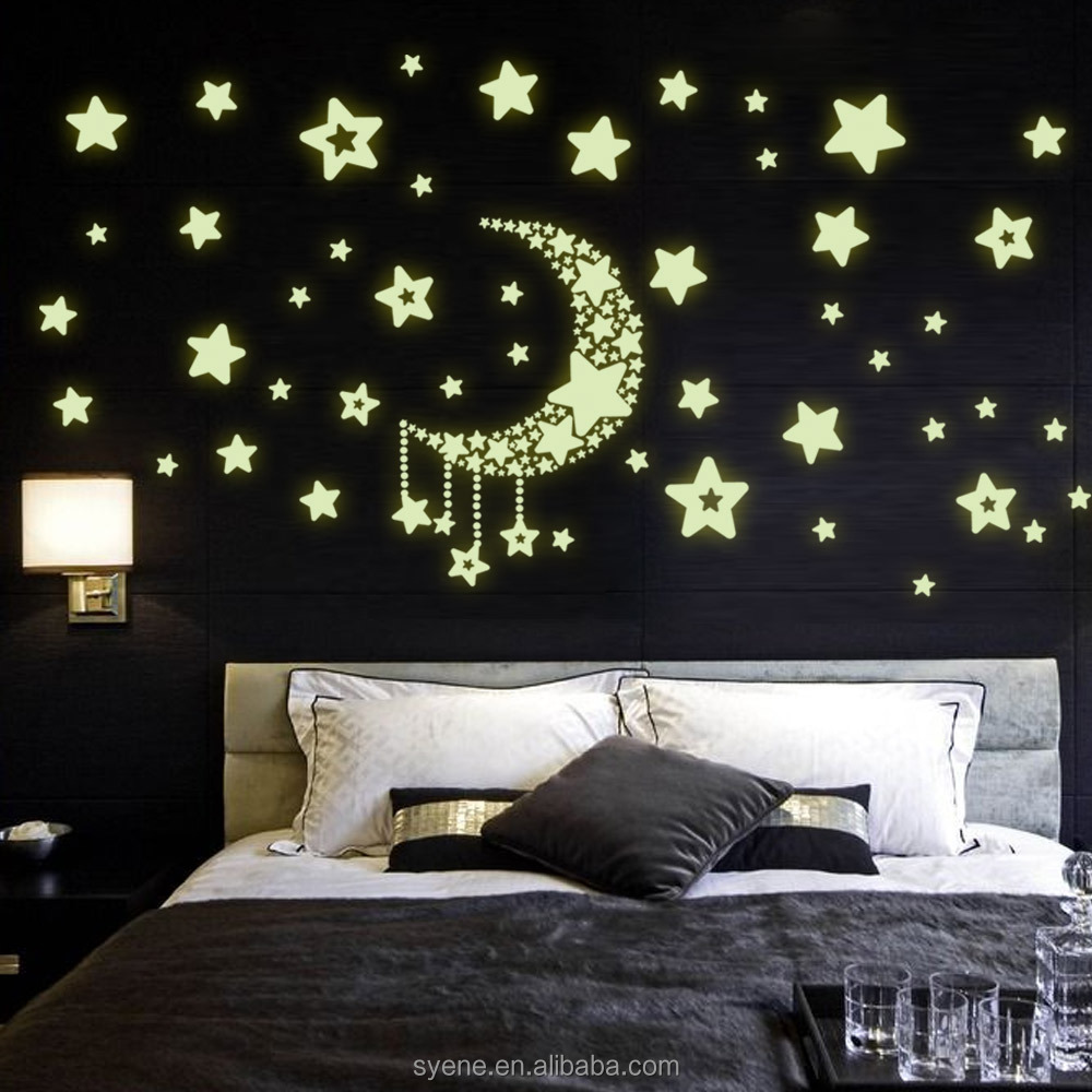 modern wall decor shine moon star 3d glow in the dark wall stickers decal home decor for kids baby nursery bedroom decoration