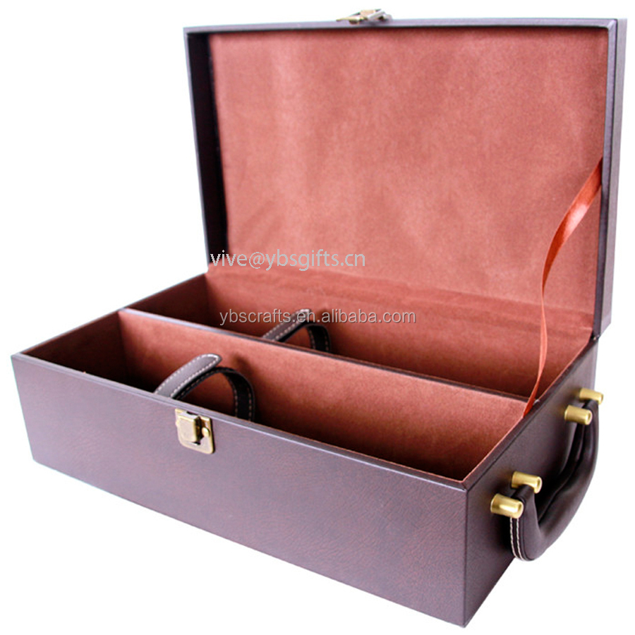 Hot selling High Quality PU Leather Wine Box,Bottle Leather Wine Carrier
