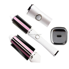 2017 New design cordless electric usb rechargeable hair curler brush ceramic LED hair straightener hair brush