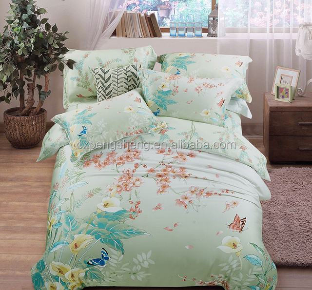 100% polyester microfiber pigment printed bed sheets/mattress fabric for bedding/home textile from China