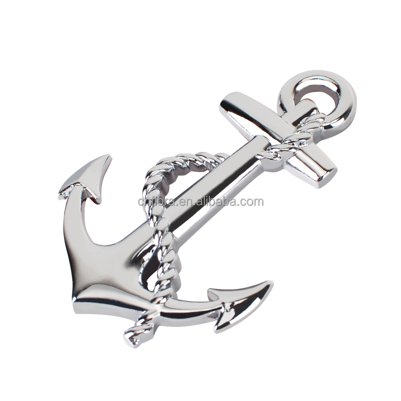 unique Chrome boat Anchor Metal car badges auto emblems
