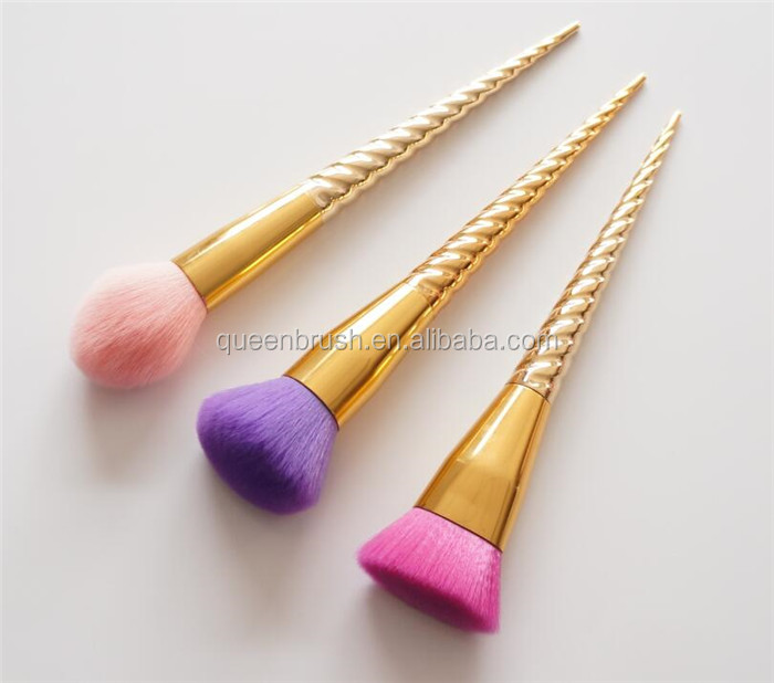 Private Label Cosmetics Makeup Face Powder Brush with Plastic Plating Handle