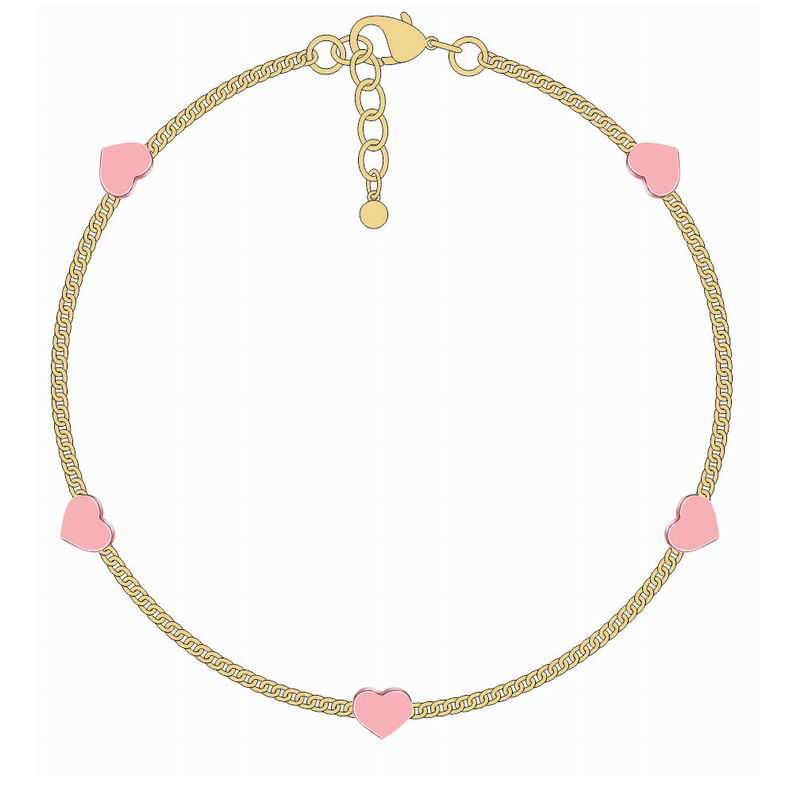 Lovely Jewelry Five Pink Hearts Gold Copper Bracelet Gift For Women Girls