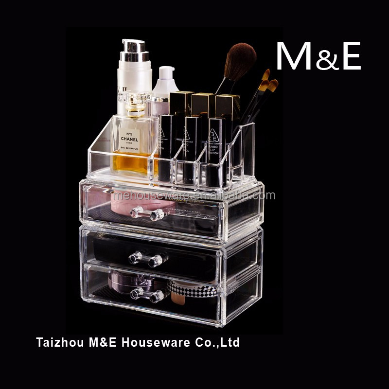 Creative gift Pretty Acrylic Clear Three Drawer Cosmetic Storage Organzier Make up Case for Memorial Day and all feasts