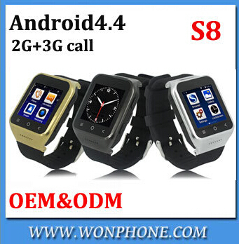 Wholesale Smart watch phone S8 wrist watch phone android 4.4OS <strong>GSM</strong>+WCDMA 3G call, one sim card 512MB+4GB ,dual CPU