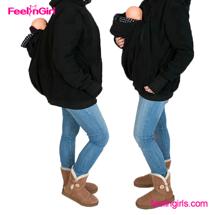 Unique Multifunctional Winter Baby Carrier Mother Jackets Wholesale Custom Black Hoodie