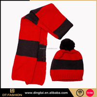Luxury fleece balaclava ski mask pom pom knitted hats beanie with logo