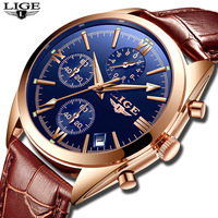 LIGE Brand New Fashionable Men Strap Watch Alloy Calendar Quartz Watch