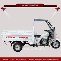 Guangzhou kavaki newest gas motor 3 wheel with canopy tricycle with roof