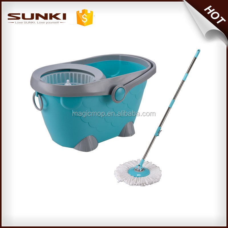 Stainless steel basket microfiber spin mop with Spinning rotating floor cleaning bucket microfiber magic mopJWA008