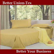 CHEAP PRICE!!250T sateen stripe full/double yellow bulk bed sheets